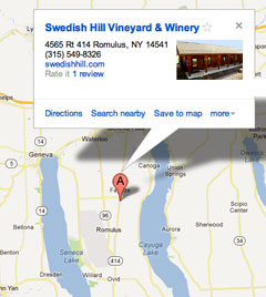 Swedish Hill Winery - Sweden map directions