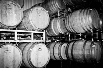 Wine Barrels on Racks