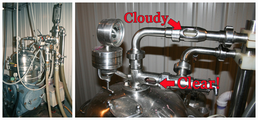 (Left) Centrifuge (Right) Shows the efficiency of our Cetrifuge where the wine goes in cloudy and comes out clear.
